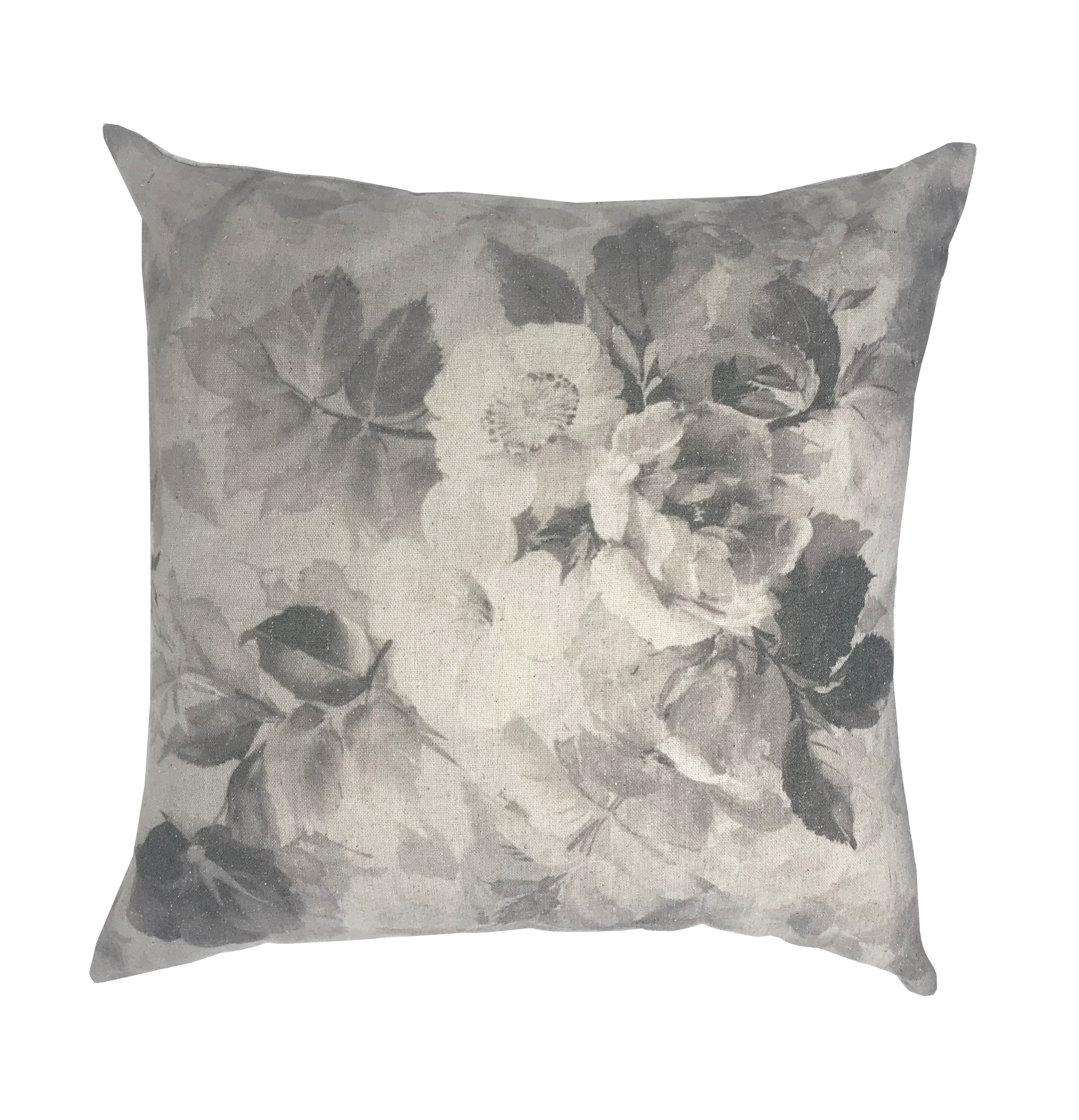 Linen Blend Florence Flower Floral 43cm x 43cm Natural Cushion Cover Only