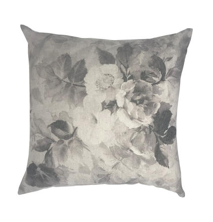 Linen Blend Florence Flower Floral 43cm x 43cm Natural Cushion Cover Only Thumbnail 1