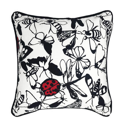 Papillion Lady Bird Butterfly Black White 43cm x 43cm Cushion Cover Only Thumbnail 1