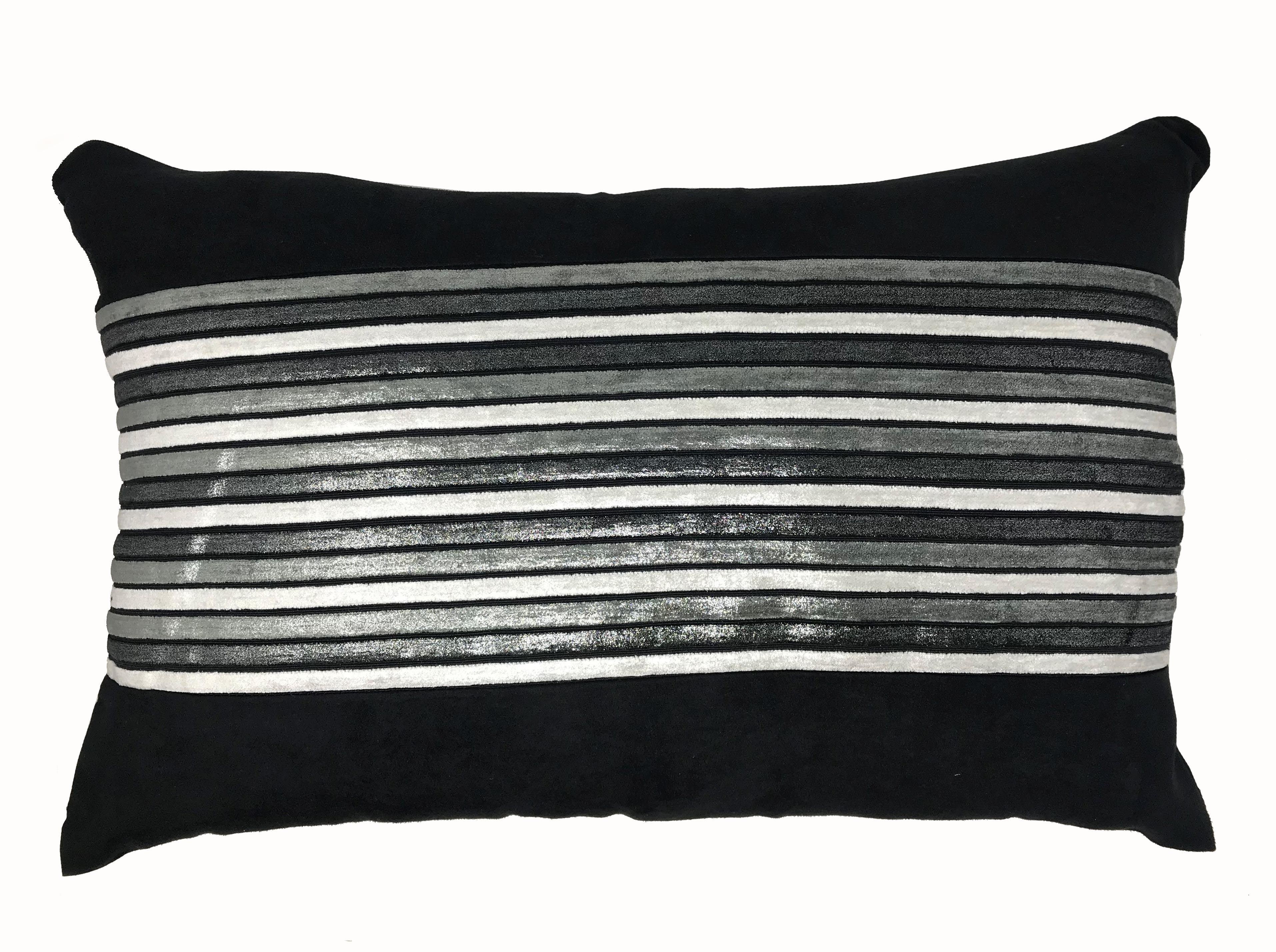 Shangai Black Silver Stripe 60cm x 40cm Boudoir Cushion Cover Only