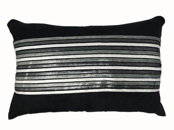 Shangai Black Silver Stripe 60cm x 40cm Boudoir Cushion Cover Only Thumbnail 1