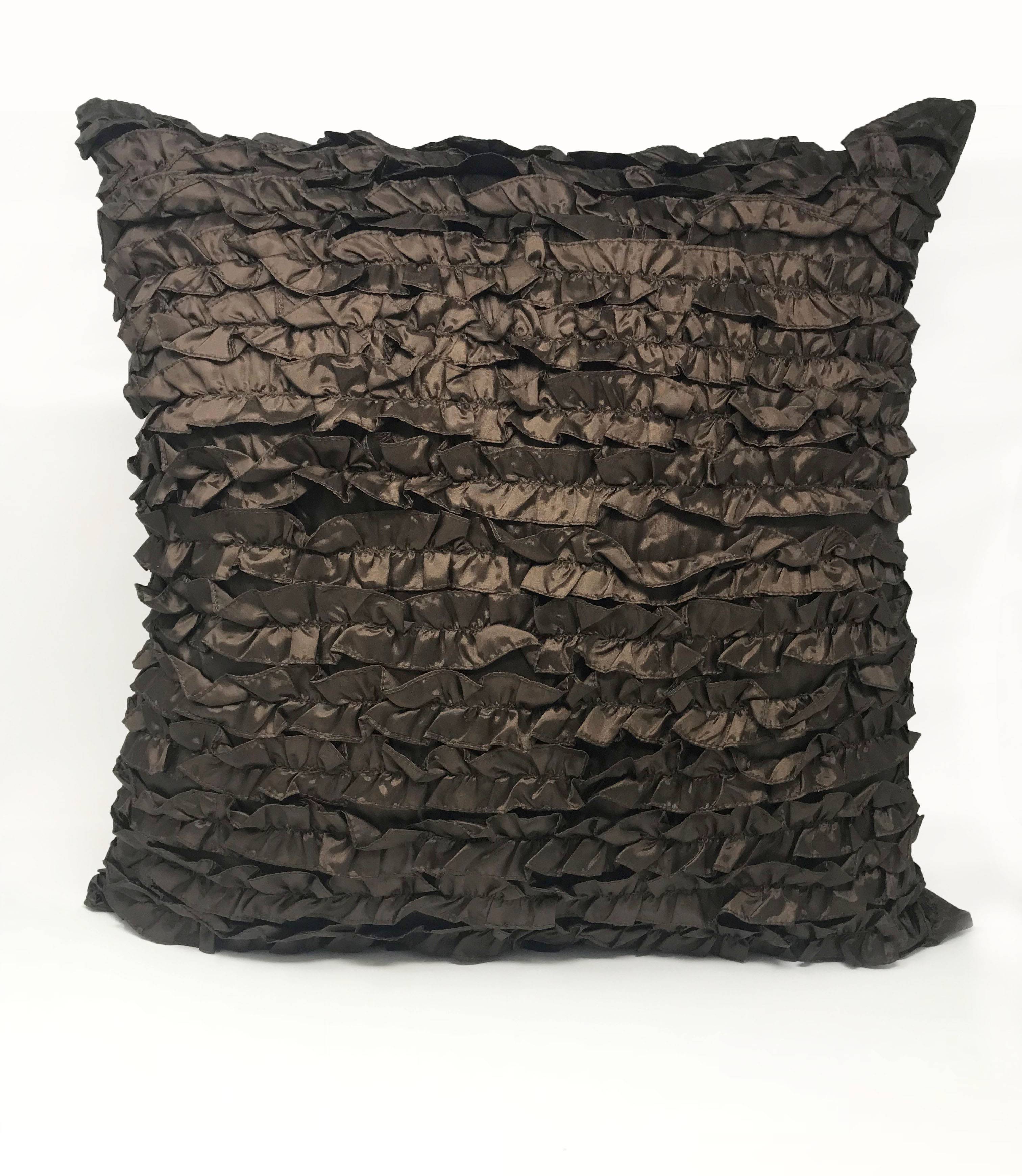 Ruffle Chocolate 55cm x 55cm Cushion Cover Only