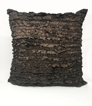 Ruffle Chocolate 55cm x 55cm Cushion Cover Only Thumbnail 1