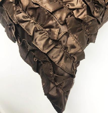 Ruffle Chocolate 55cm x 55cm Cushion Cover Only Thumbnail 2