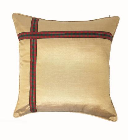 Xmas Ribbon Cream 43cm x 43cm Cushion Cover Only Thumbnail 1