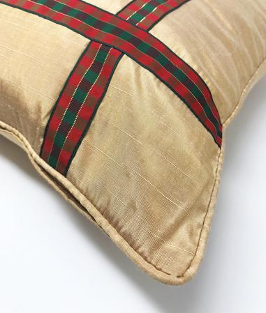 Xmas Ribbon Cream 43cm x 43cm Cushion Cover Only Thumbnail 2