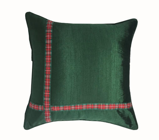 Xmas Ribbon Green 43cm x 43cm Cushion Cover Only Thumbnail 1
