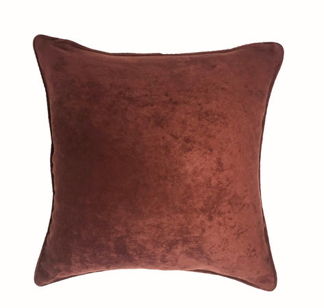 Mock Suede Dark Rust 43cm x 43cm Cushion Cover Only Thumbnail 1