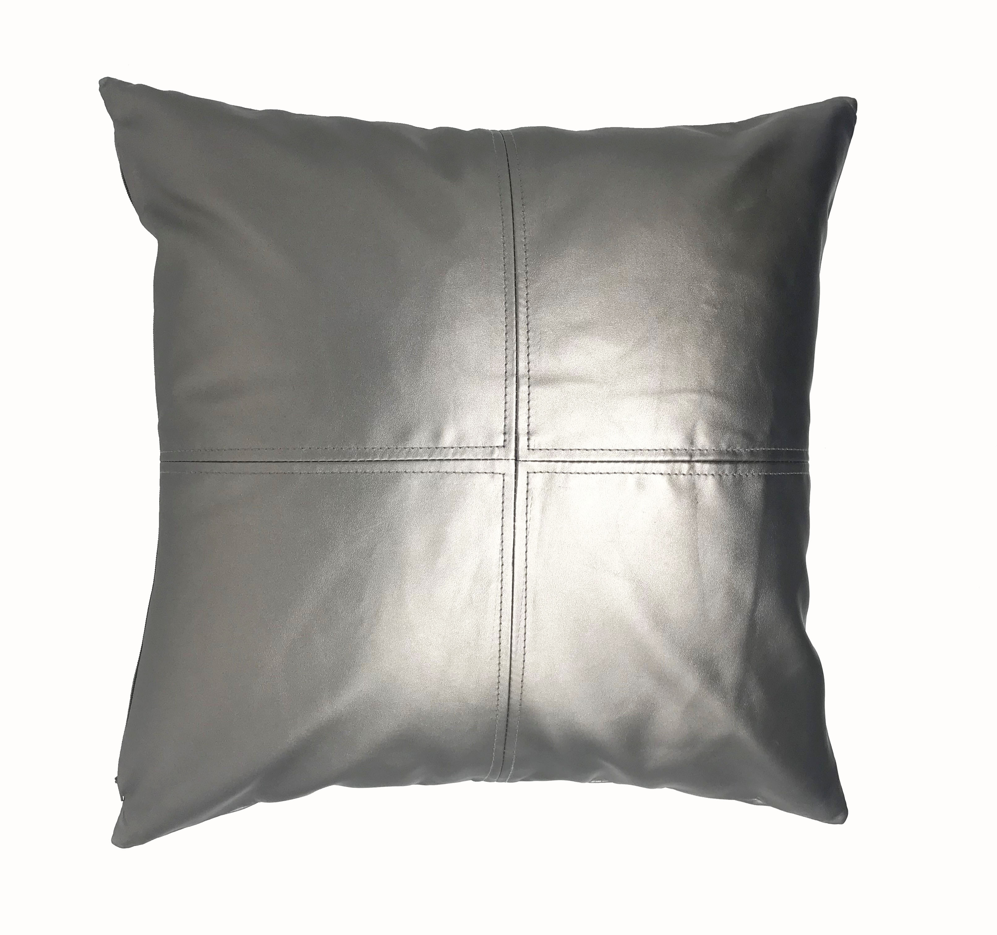 PVC Leather Look Silver 43cm x 43cm Cushion Cover Only