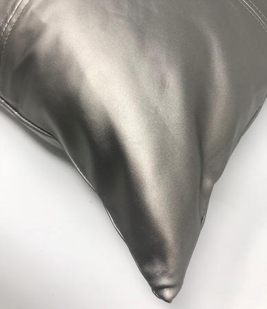 PVC Leather Look Silver 43cm x 43cm Cushion Cover Only Thumbnail 2