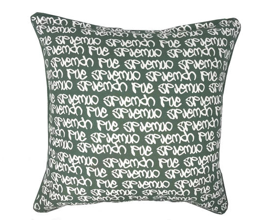 Green Graffiti Printed 45cm x 45cm Cushion Cover Only Thumbnail 1