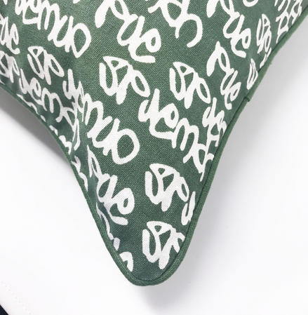 Green Graffiti Printed 45cm x 45cm Cushion Cover Only Thumbnail 2