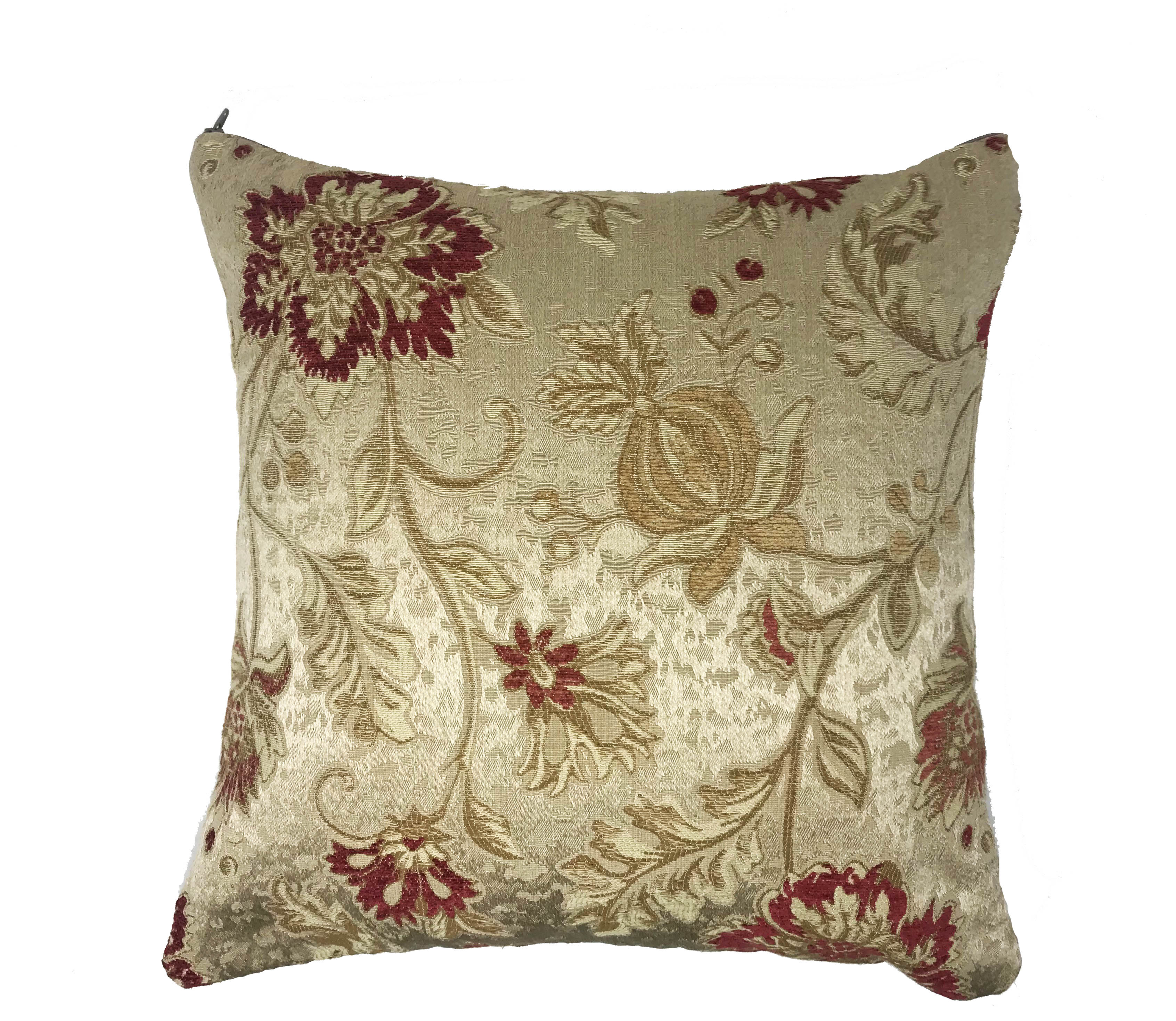 Floral Embroidered 43cm x 43cm Cushion Cover Only