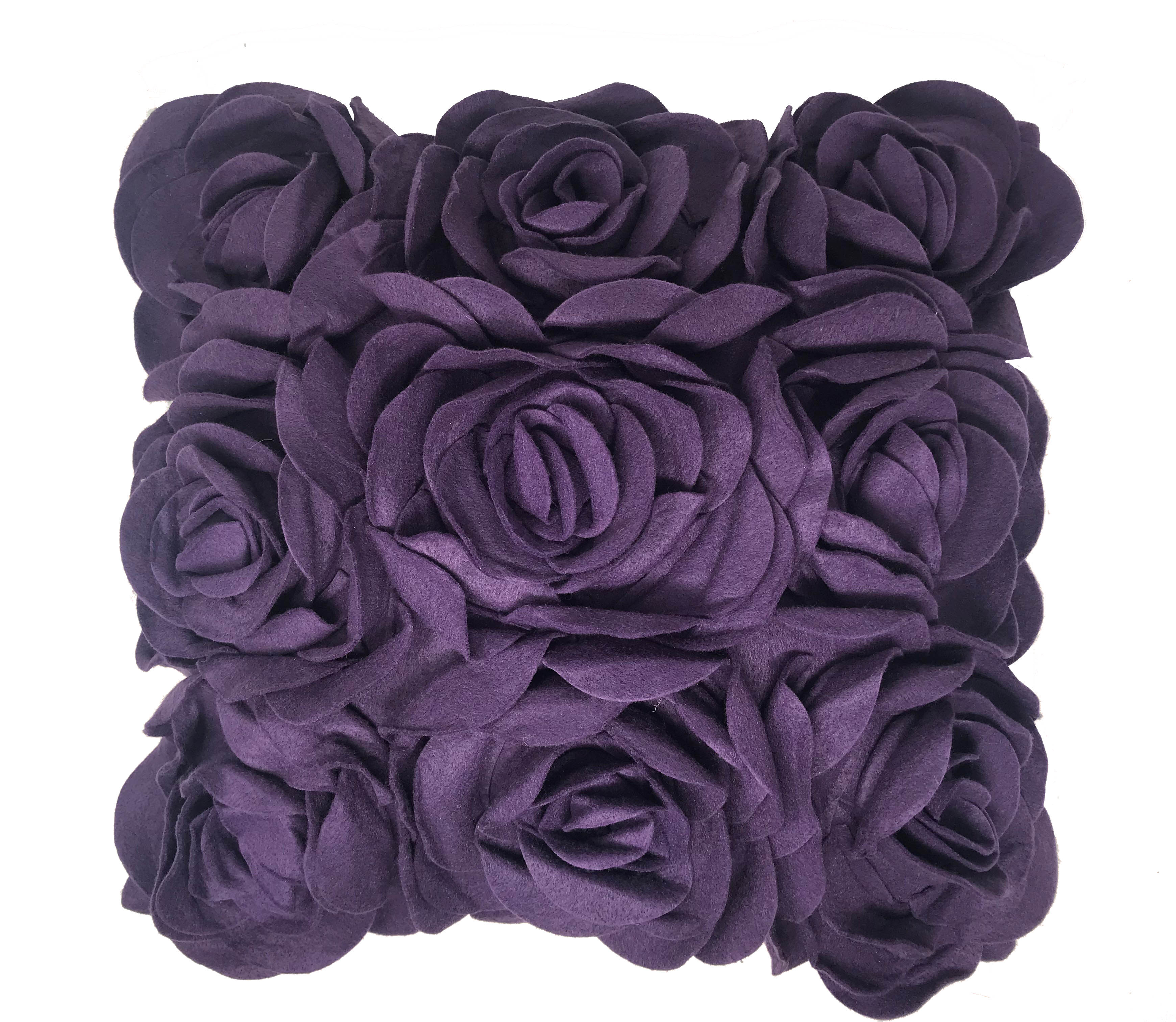 Purple Felt Floral Wool Like 43cm x 43cm Cushion Cover Only