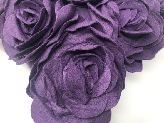 Purple Felt Floral Wool Like 43cm x 43cm Cushion Cover Only Thumbnail 2