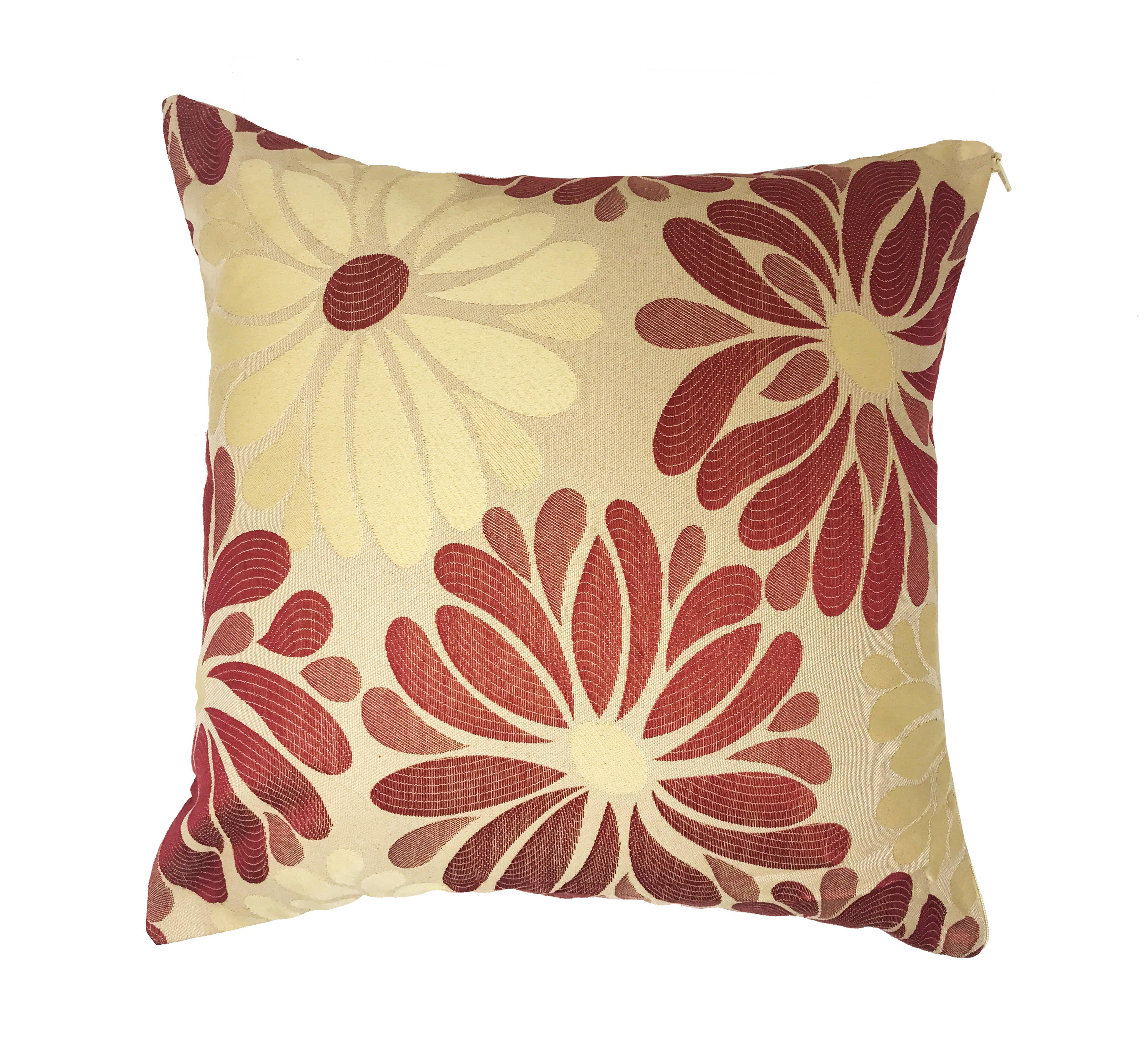 Mariella Brick Red Cream Floral 43cm x 43cm Cushion Cover Only