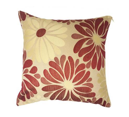Mariella Brick Red Cream Floral 43cm x 43cm Cushion Cover Only Thumbnail 1