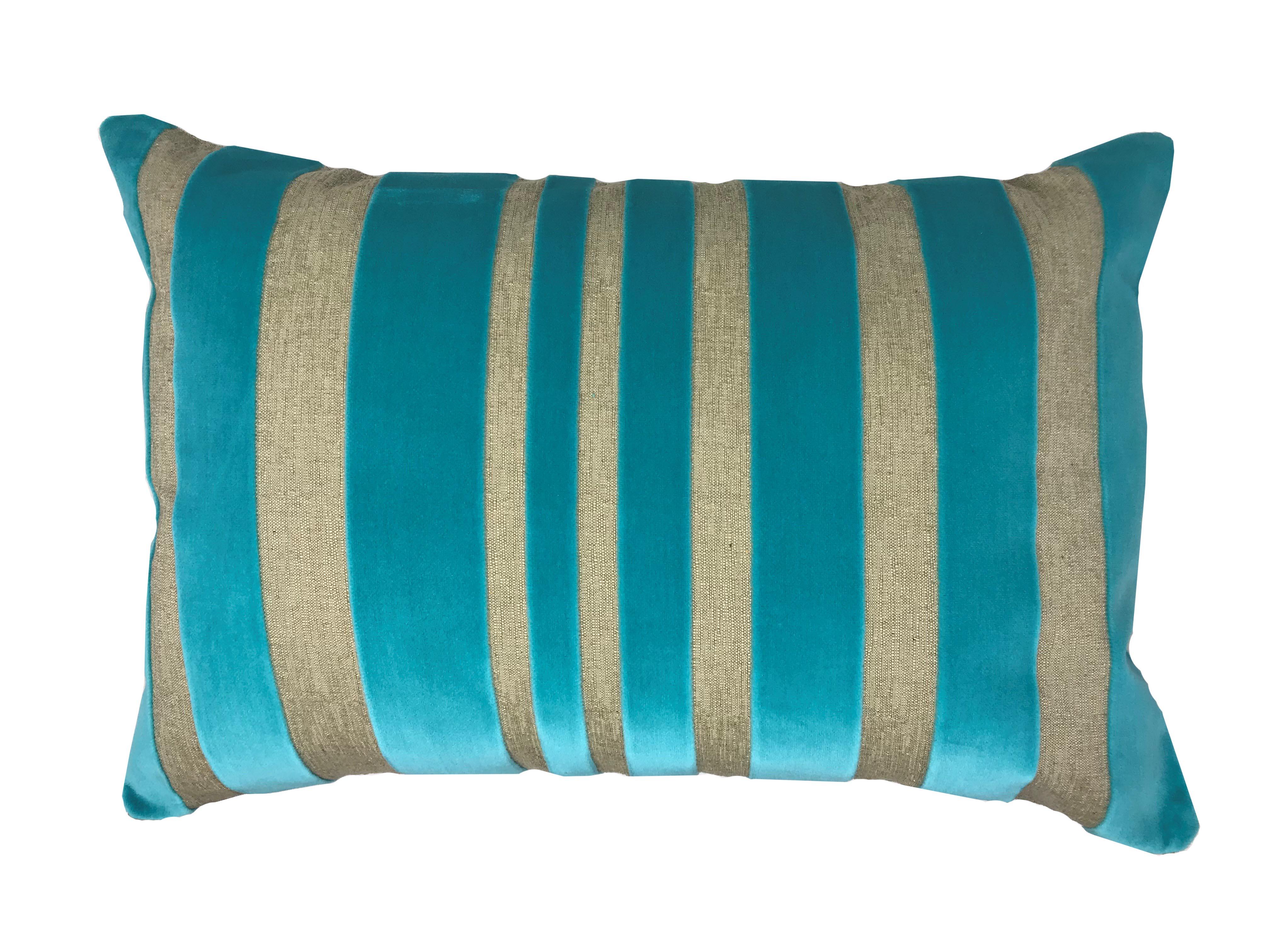 Yollu Velvet Teal Stripe 58cm x 39cm Boudoir Cushion Cover Only