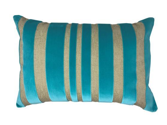 Yollu Velvet Teal Stripe 58cm x 39cm Boudoir Cushion Cover Only Thumbnail 1