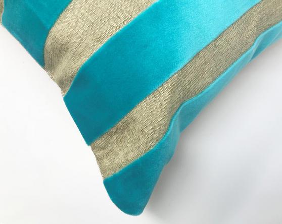 Yollu Velvet Teal Stripe 58cm x 39cm Boudoir Cushion Cover Only Thumbnail 2