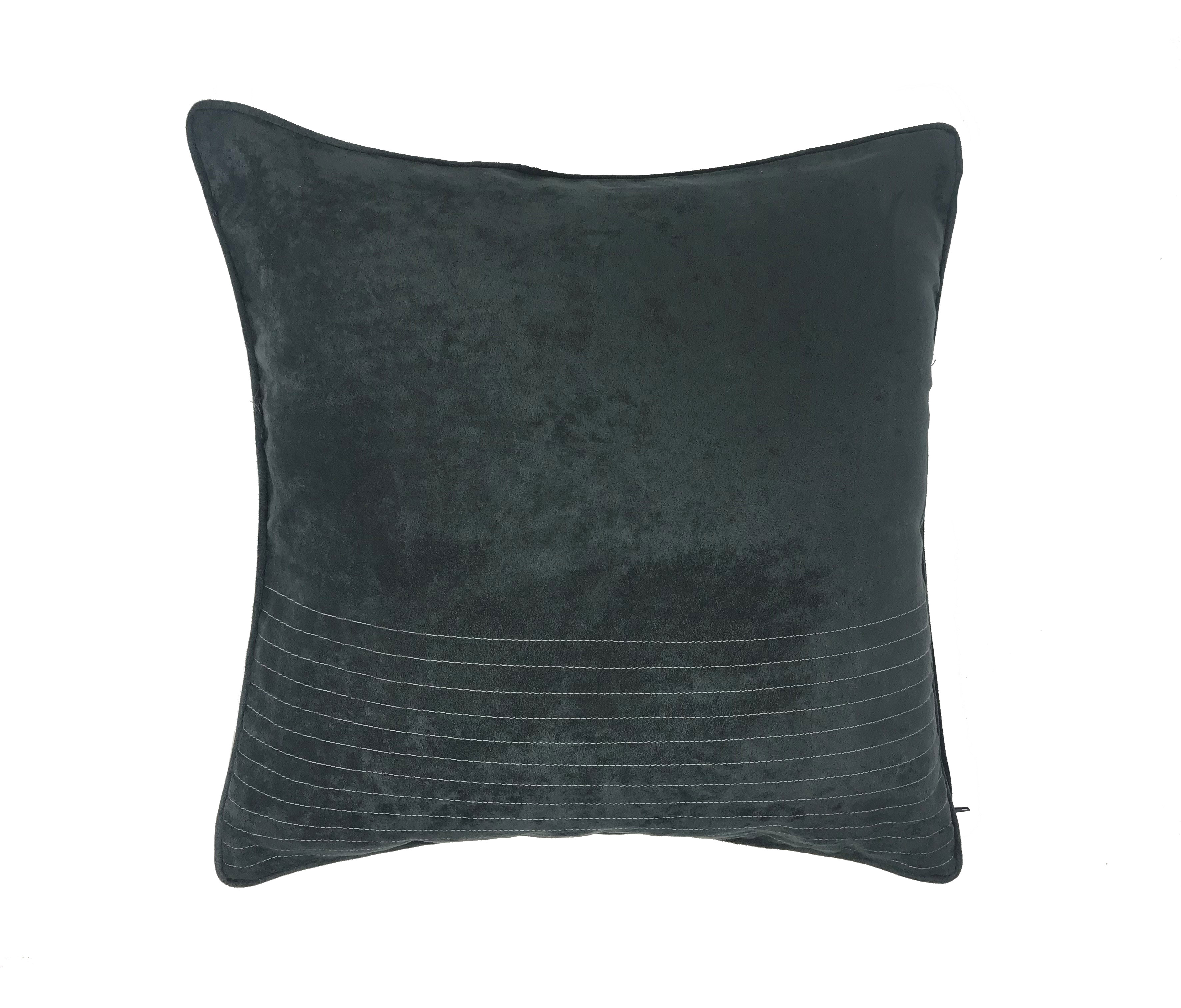 Suede Grey Piped Edge 43cm x 43cm Cushion Cover Only