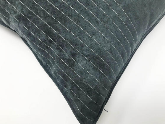 Suede Grey Piped Edge 43cm x 43cm Cushion Cover Only Thumbnail 2