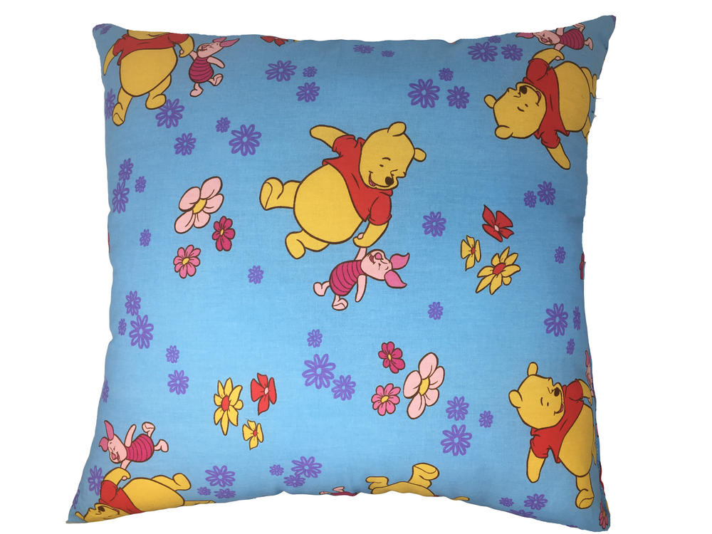 Winnie The Pooh Filled Cushion - Pale Blue with Flowers