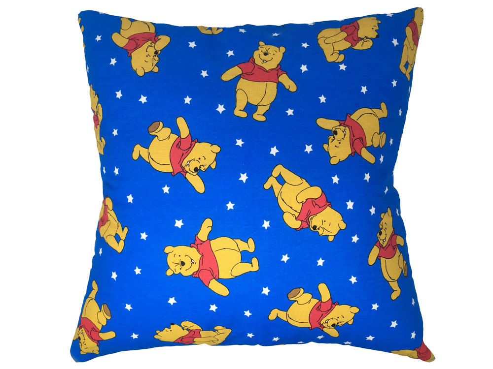 Winnie The Pooh Filled Cushion - Blue with Stars