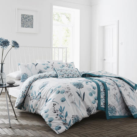 COMING SOON - Inky Floral Collection Bedding Set & Bedding Range in Teal, Mauve & Royal Blue