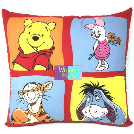 Red Reversible Winnie the Pooh and Friends Filled Cushion Thumbnail 2