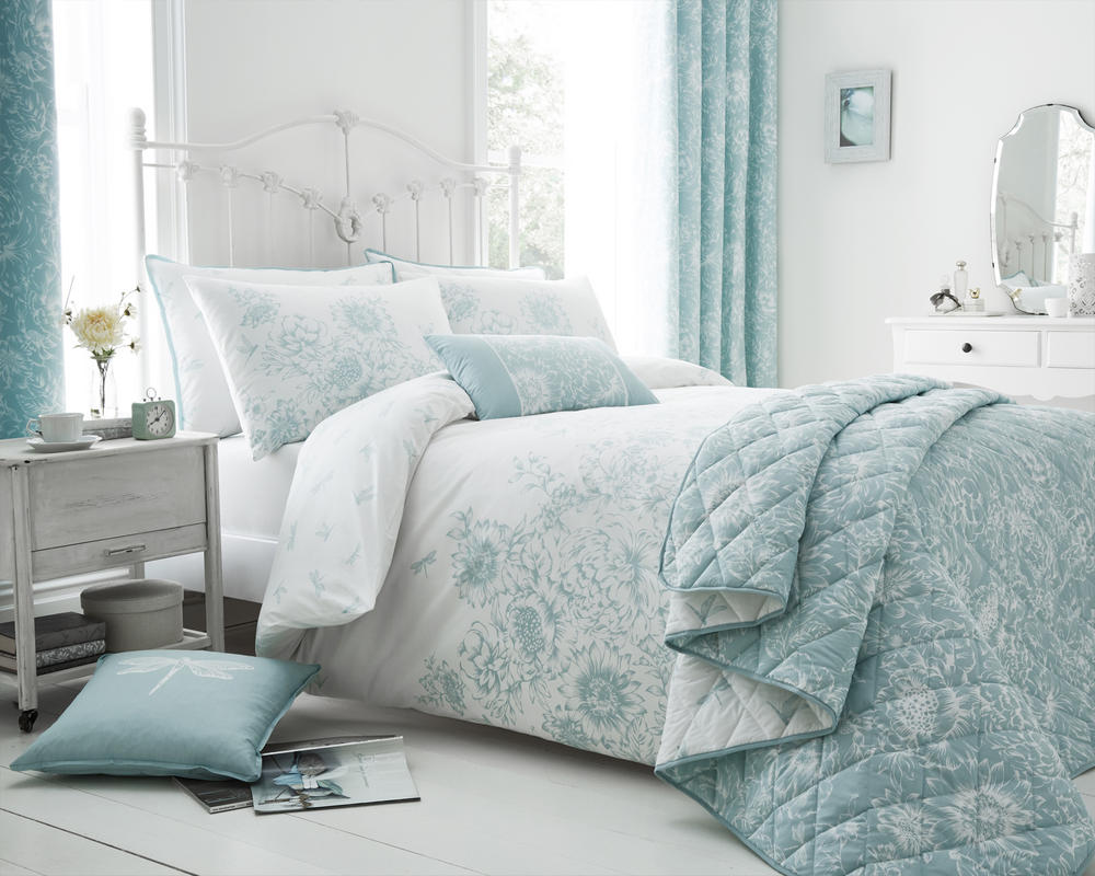 Floral Border Duvet Cover with Pillowcase(s) Set / Cushion in Duck Egg