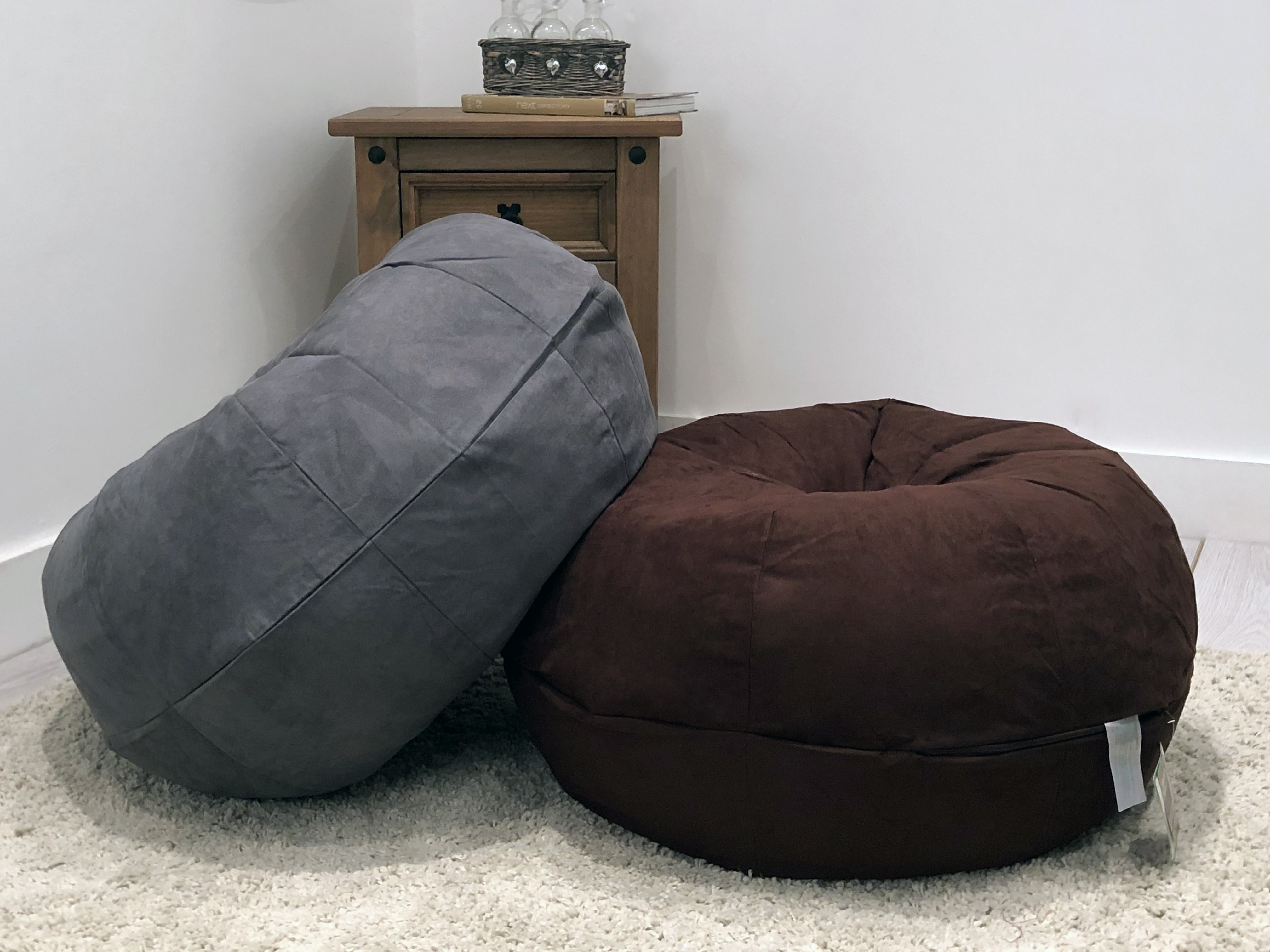 Excellent Details About Large Moroccan Style Faux Suede Bean Bag Footstool Pouffe Brown Or Grey Machost Co Dining Chair Design Ideas Machostcouk