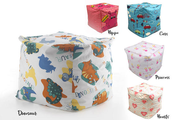 Kids Fabric Printed Bean Bag Cubes Footstools Thumbnail 1