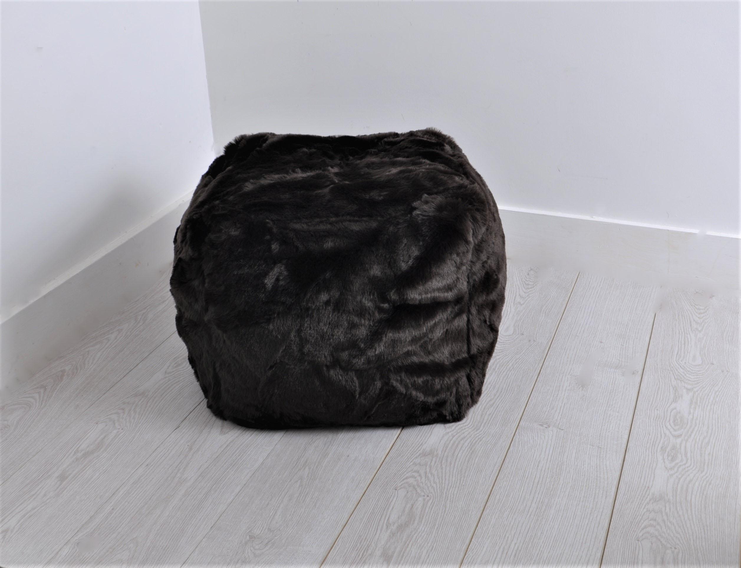 Sentinel Luxurious Faux Fur CUBE Bean Bag - POLAR   CHOC. BROWN   Leopard Bean  Bag abda01eae31be