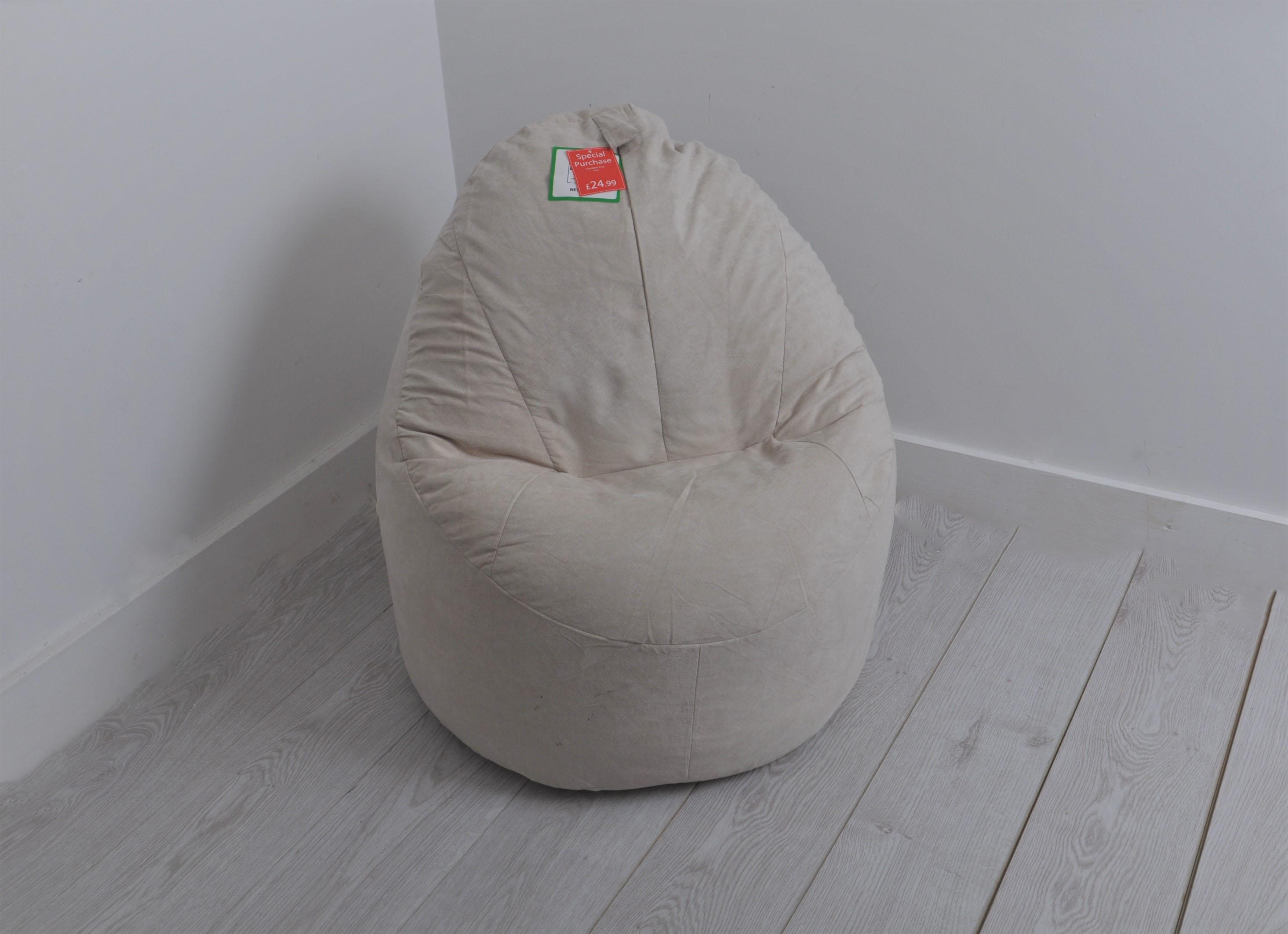 Outstanding Details About Luxury Faux Suede Pod Bean Bag Bean Chair 5Cft Stone Machost Co Dining Chair Design Ideas Machostcouk