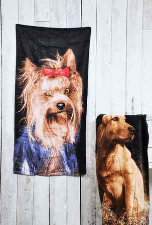 Lightweight 100% Cotton Beach Bath Towel - Yorkshire Terrier Design Thumbnail 2