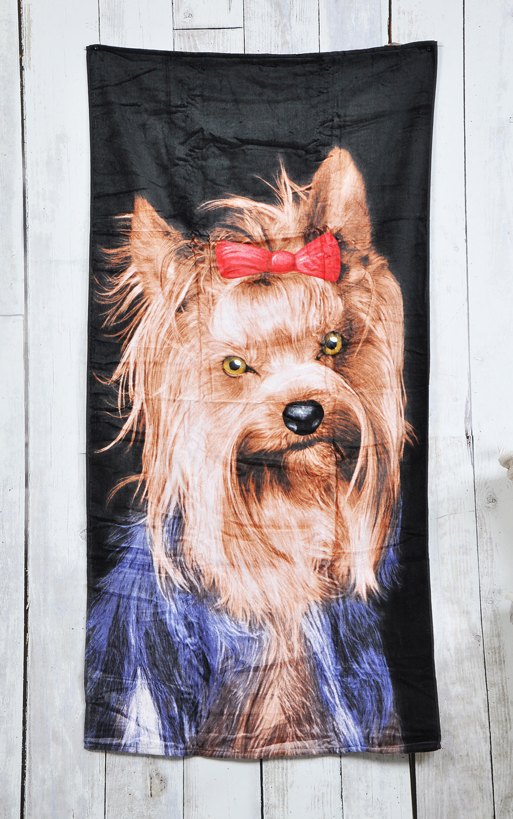 Lightweight 100% Cotton Beach Bath Towel - Yorkshire Terrier Design