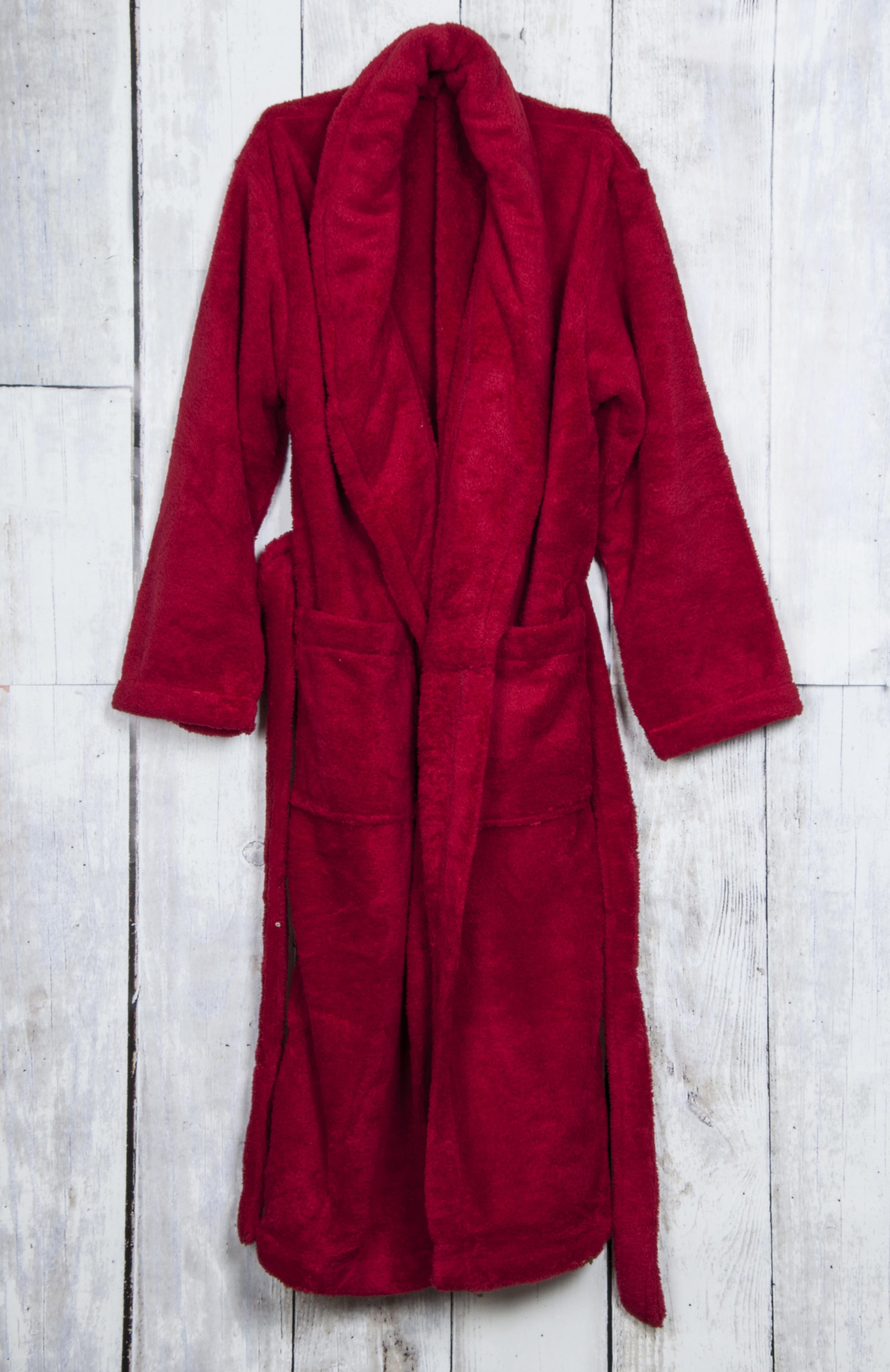 99dbcee2cc Red Super Soft Plush Coral Fleece Double Pocket Unisex Bathrobe ...