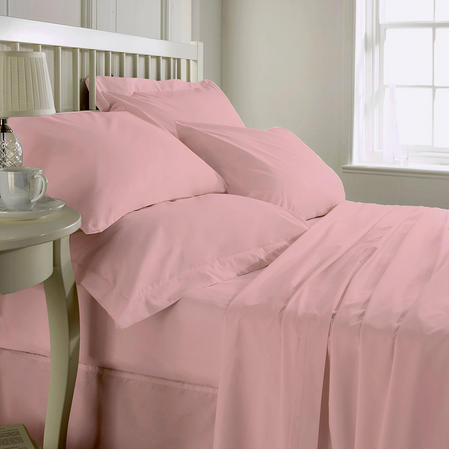 200 TC 100% Cotton Plain Dye Fitted sheet Super King Bed in Pink