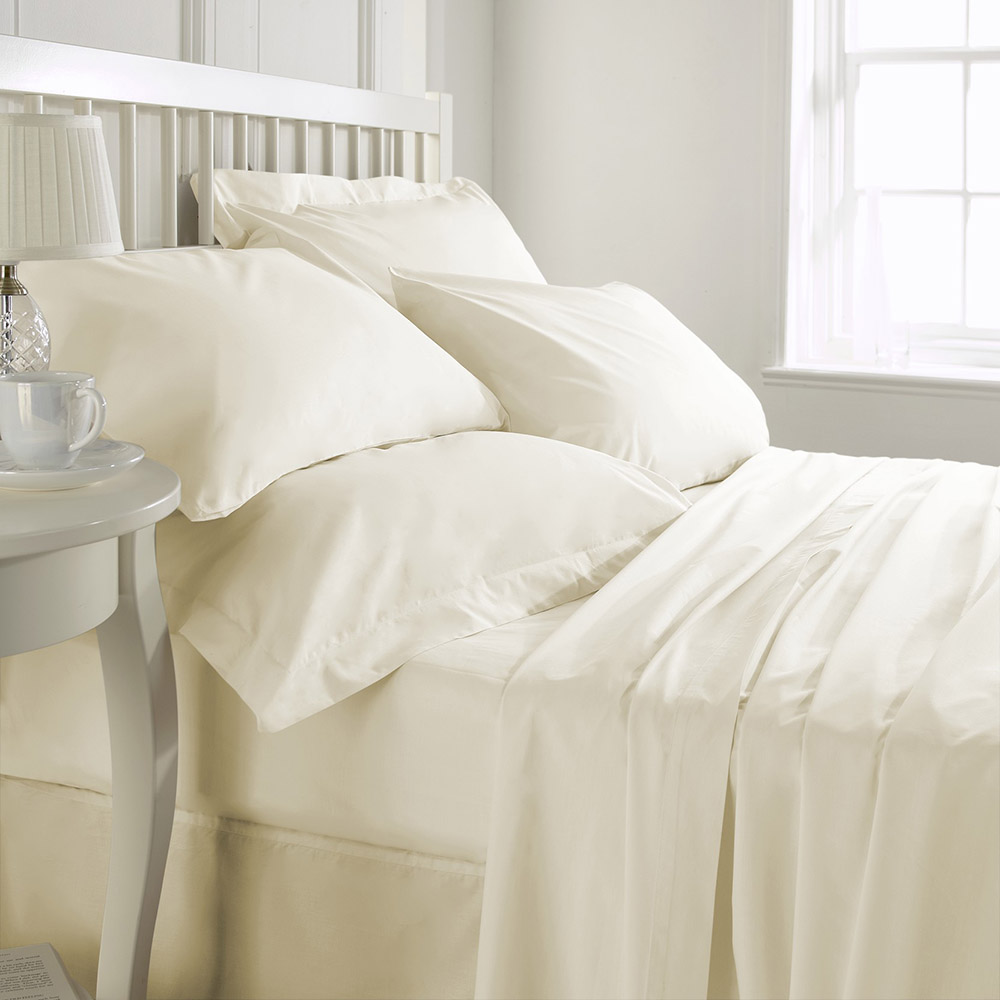 200 TC 100% Cotton Super Soft Plain Dye Fitted sheet Single Bed in Ivory