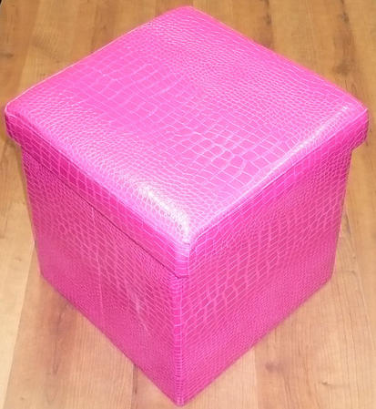 Multi Purpose Crocodile Folding Ottoman Storage Box/Chair In Fuschia Thumbnail 1