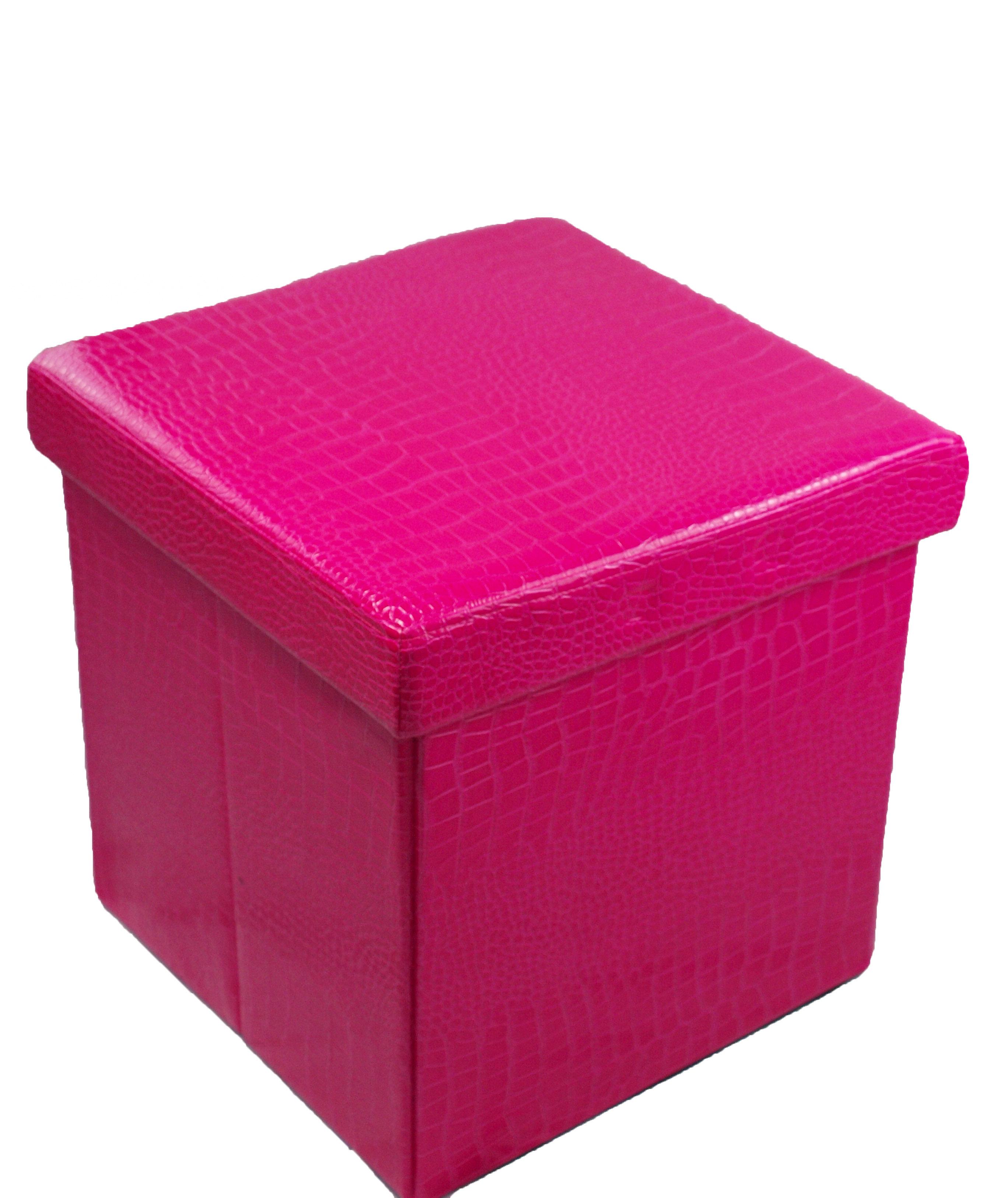 ... Multi Purpose Crocodile Folding Ottoman Storage Box/Chair In Fuschia  Thumbnail 3