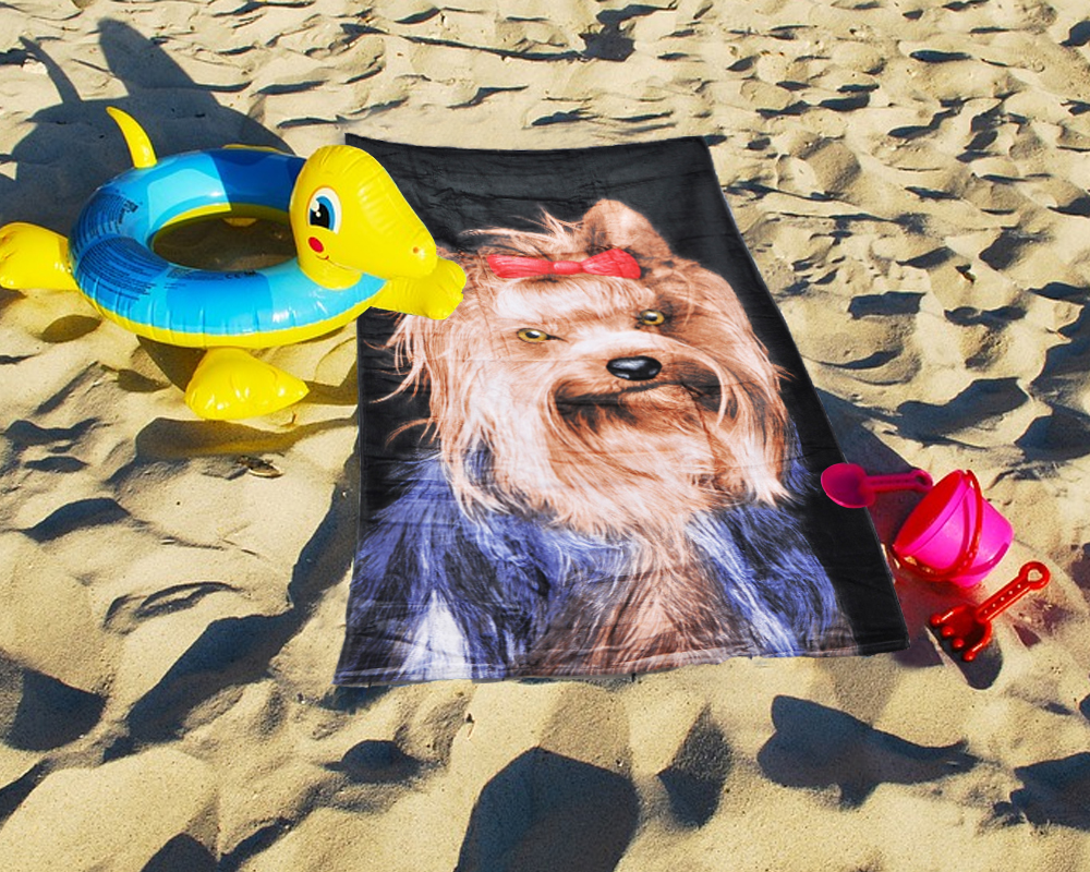 Lightweight Beach Towel 100% Cotton - Yorkshire Terrier Design