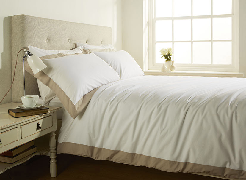 200TC 100% Cotton Single Bed Stylish Duvet Cover with Cream Linen Border