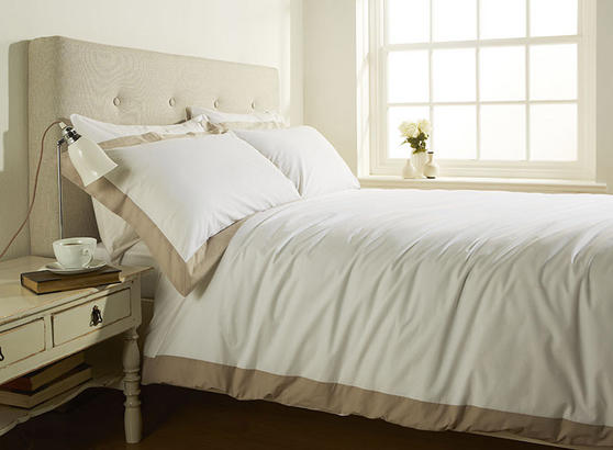 200TC 100% Cotton Single Bed Stylish Duvet Cover with Cream Linen Border  Thumbnail 1