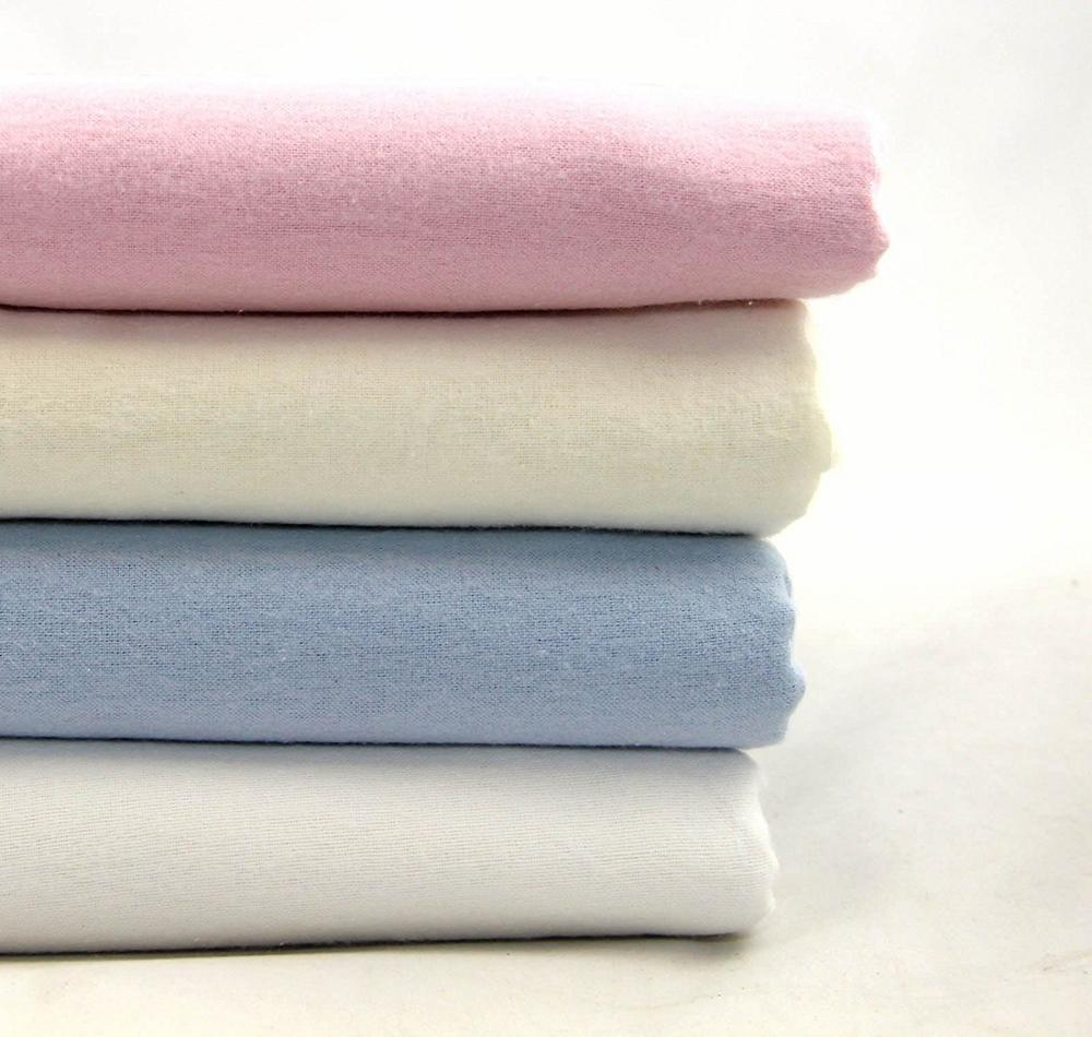 100% Brushed Cotton Baby Bedding Flannelette Cot Bed / Pram Sheet - Fitted/Flat