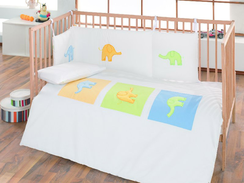 Elephant Collection Children Embroidered 100% Cotton Cot Bed Bumper