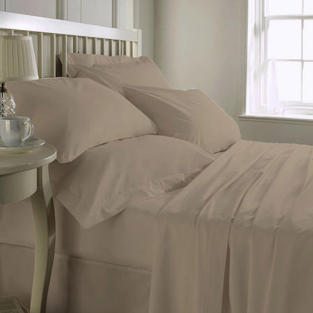 200 TC 100% Cotton Plain Dye Fitted sheet Single Bed in Stone Thumbnail 1