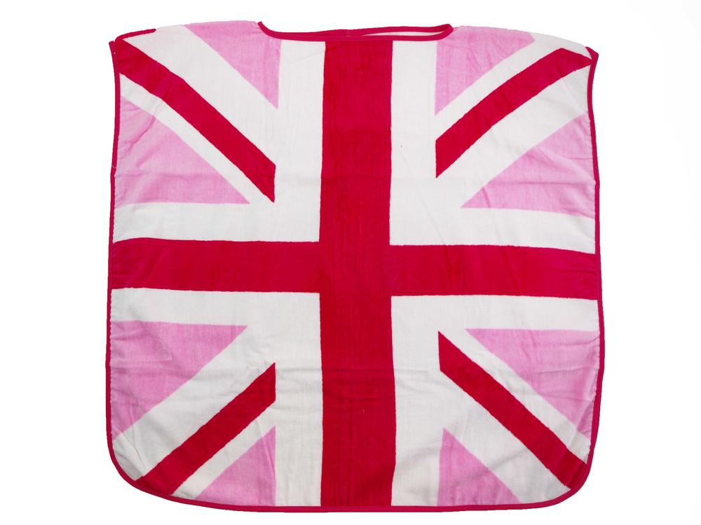 Children's Pink Union Jack Cotton Poncho Towel