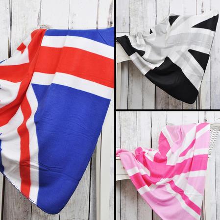 British Union Jack Flag Design Fleece Sofa Bed Picnic Throw Blanket - 3 Colours Thumbnail 2